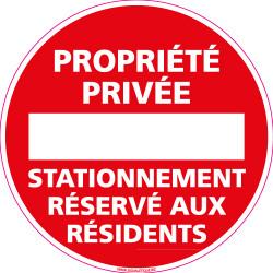 Panneau PROPRIETE PRIVEE STATIONNEMENT RESERVE AUX RESIDENTS (L0209)