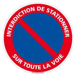 PANNEAU INTERDICTION DE STATIONNER SUR TOUTE LA VOIE (L0272)