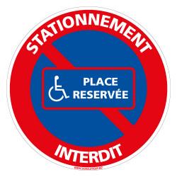 PANNEAU STATIONNEMENT INTERDIT RESERVE AUX PERSONNES HANDICAPEES (L0296)