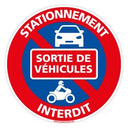 PANNEAU STATIONNEMENT INTERDIT SORTIE DE VEHICULES (L0298)