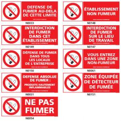 Panneau INTERDICTION DE FUMER avec decret et pictogramme