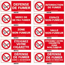 Panneau DEFENSE DE FUMER, avec decret et pictogramme