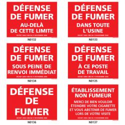 Panneau DEFENSE DE FUMER (usine, etablissement, etc.)