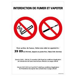 PANNEAU INTERDICTION DE FUMER ET VAPOTER (N0174)