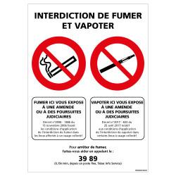 PANNEAU DE SIGNALISATION INTERDICTION DE FUMER ET DE VAPOTER (N0182)