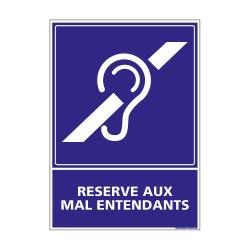 PANNEAU SIGNALISATION HANDICAPES, MOBILITE REDUITE RESERVE AUX MAL ENTENDANTS