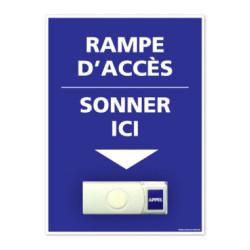 Panneau de signalisation APPEL RAMPE D'ACCES + Sonnette intégrée (G1104)