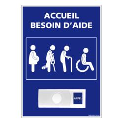 Panneau de signalisation ACCUEIL BESOIN D'AIDE + Sonnette intégrée (G1167)
