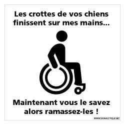 PANNEAU PENSER AUX FAUTEUILS ROULANT AVEC LES CROTTES DE CHIENS (G1489)