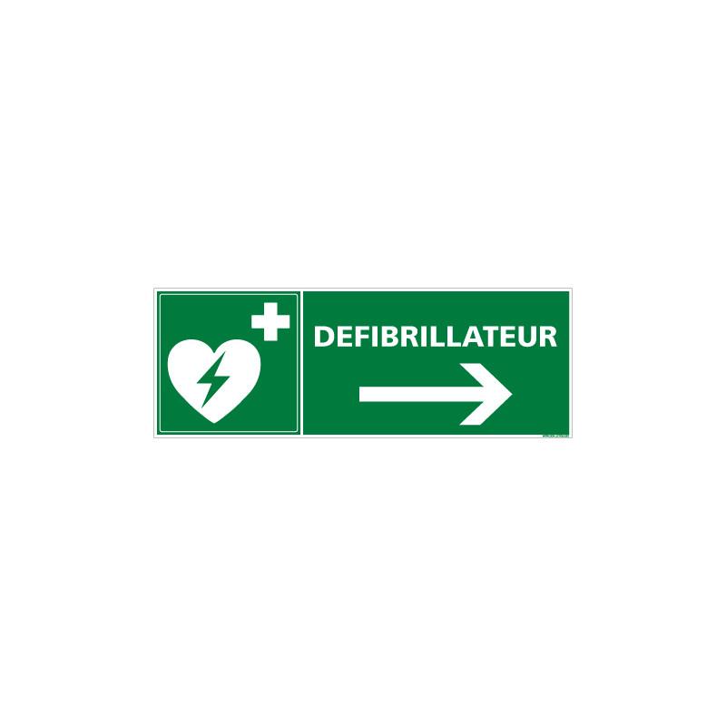 PANNEAU DEFIBRILLATEUR FLECHE VERS LA DROITE (B0253)