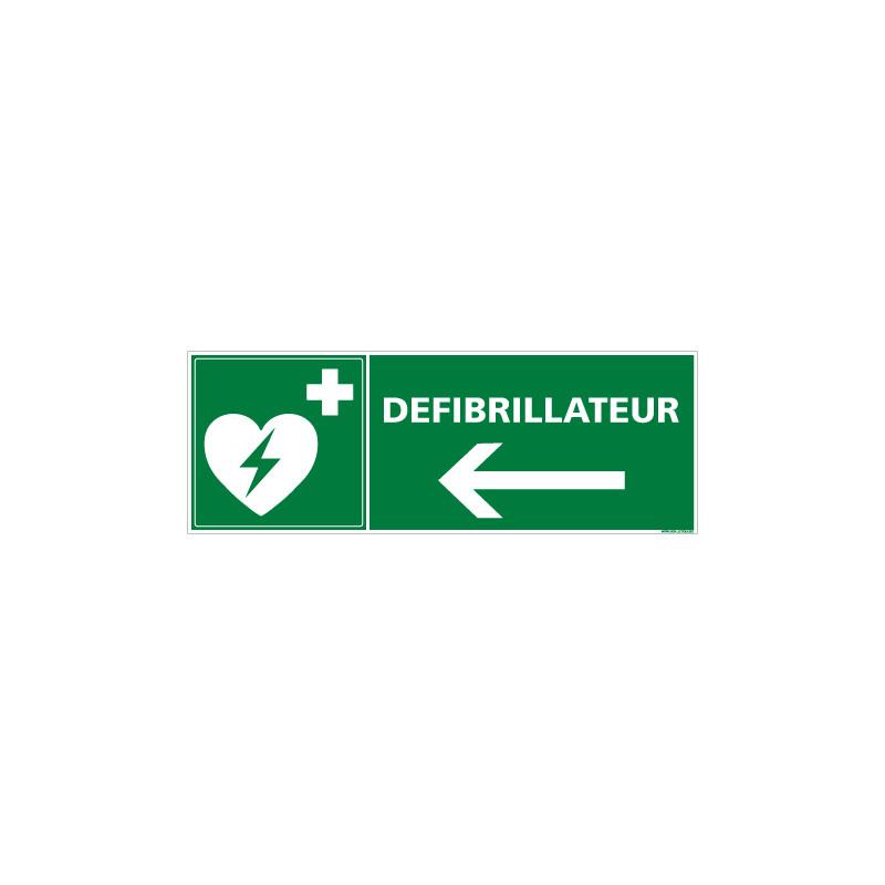 PANNEAU DEFIBRILLATEUR FLECHE VERS LA GAUCHE (B0254)