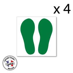SIGNALISATION SOL ANTIDERAPANT - LOT DE 4 TRACES DE PAS DE COULEURS (O0036)