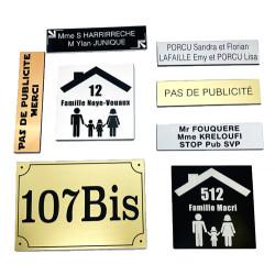 PLAQUE GRAVEE POUR BOŒTE AUX LETTRES STOP PUB PERSONNALISABLE (BAL0003)
