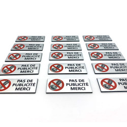 Plaque de boîte aux lettres - STOP pas de publicité merci (WUV0006)