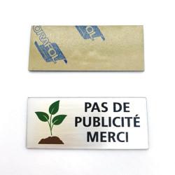 Plaque de boîte lettre Pas de publicité merci (WUV0007)