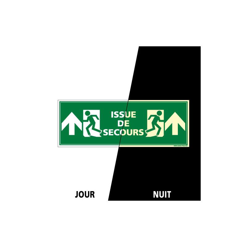 PANNEAU ISSUE DE SECOURS FLECHES VERS LE HAUT PHOTOLUMINESCENT (B0292-PHO)