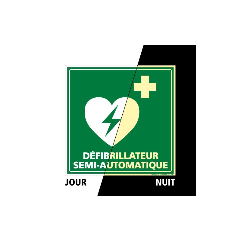 PANNEAU DEFIBRILLATEUR SEMI-AUTOMATIQUE PHOTOLUMINESCENT (B0328)