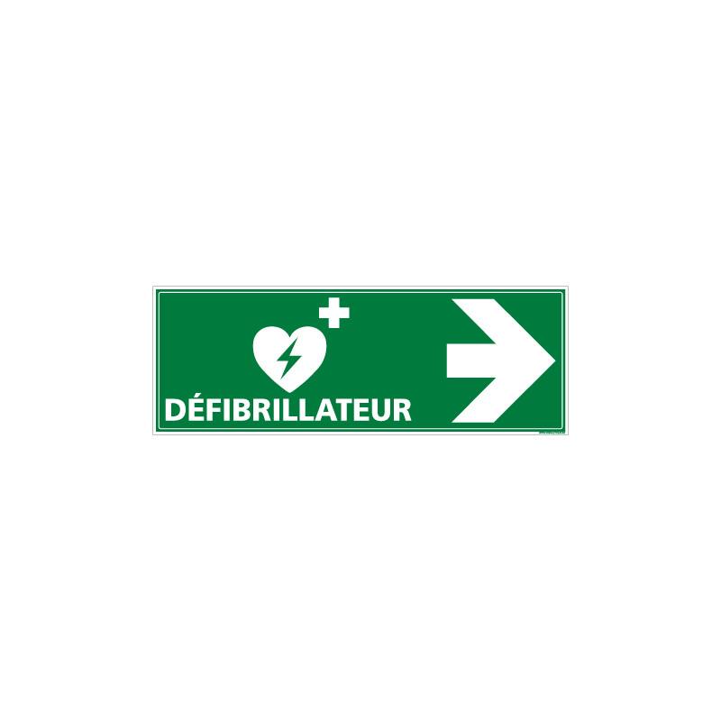 PANNEAU DEFIBRILLATEUR FLECHE VERS LA DROITE (B0332D)