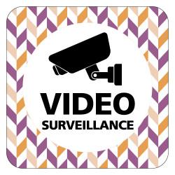 PLAQUE DE PORTE DESIGN SPHERE VIDEOSURVEILLANCE - 125X125 mm
