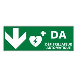 PANNEAU DEFIBRILLATEUR AUTOMATIQUE FLECHE VERS LE BAS (B0333)