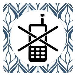 PLAQUE DE PORTE DESIGN SPHERE TELEPHONE INTERDIT - 125X125 mm