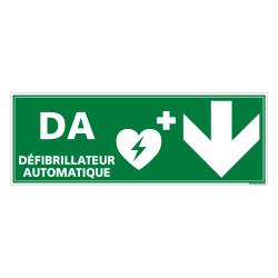 PANNEAU DEFIBRILLATEUR AUTOMATIQUE FLECHE VERS LE BAS (B0334)