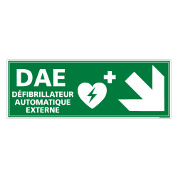 PANNEAU DEFIBRILLATEUR AUTOMATIQUE EXTERNE FLECHE VERS LE BAS A DROITE (B0335)