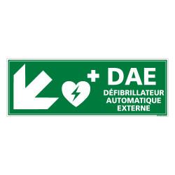 PANNEAU DEFIBRILLATEUR AUTOMATIQUE EXTERNE FLECHE VERS LE BAS A GAUCHE (B0336)