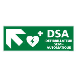 PANNEAU DEFIBRILLATEUR SEMI AUTOMATIQUE FLECHE VERS LE HAUT A GAUCHE (B0337)