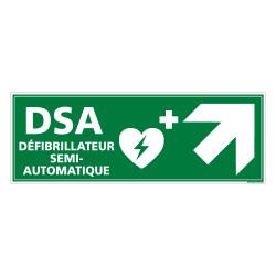 PANNEAU DEFIBRILLATEUR SEMI AUTOMATIQUE FLECHE VERS LE HAUT A DROITE (B0338)