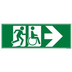 PANNEAU SENS SORTIE DE SECOURS POUR PERSONNES VALIDES ET A MOBILITE REDUITE (DROITE) (B0341D)