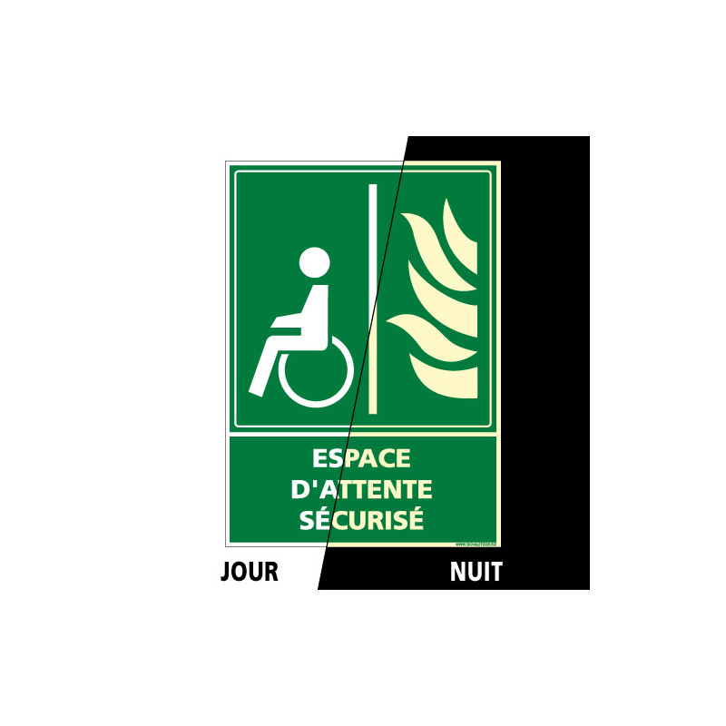 PANNEAU VERTICAL ESPACE D'ATTENTE SECURISE PHOTOLUMINESCENT (B0347-PHO)