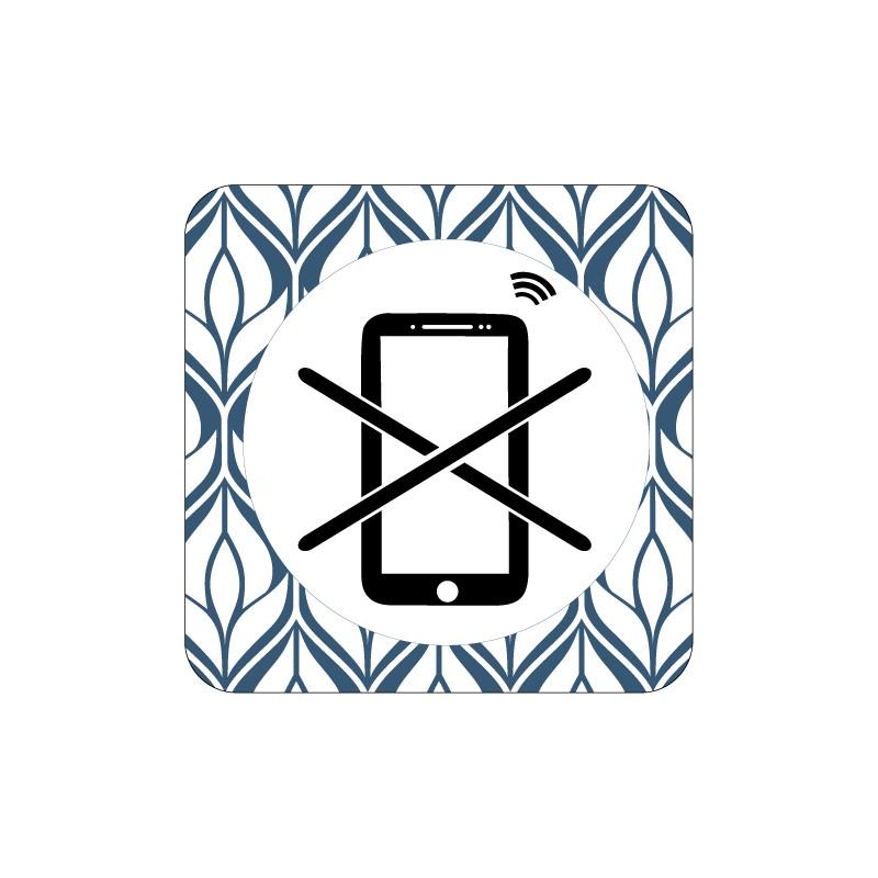 PLAQUE DE PORTE DESIGN SPHERE SMARTPHONE INTERDIT - 125X125 mm