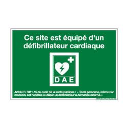 PANNEAU SITE EQUIPE D'UN DEFIBRILLATEUR (B0355)