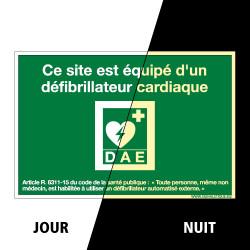 PANNEAU CE SITE EST EQUIPE D'UN DEFIBRILLATEUR CARDIAQUE PHOTOLUMINESCENT (B0355-PHO)