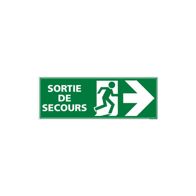 Panneau SORTIE ISSUE DE SECOURS (DROITE) (B0391)