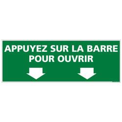 Panneau APPUYEZ SUR LA BARRE POUR OUVRIR (B0396)