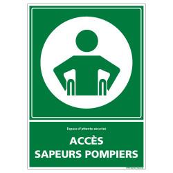 PANNEAU ESPACE D'ATTENTE SECURISE ACCES SAPEURS POMPIERS (B0402)