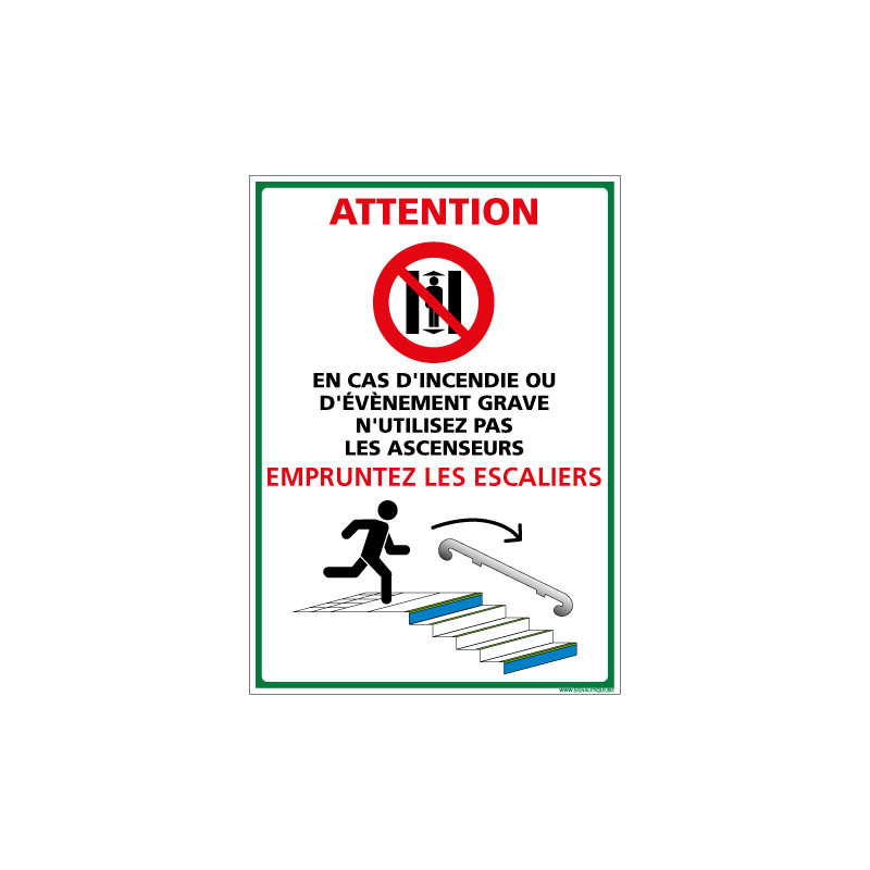 PANNEAU EVACUATION PAR LES ESCALIERS (B0432)