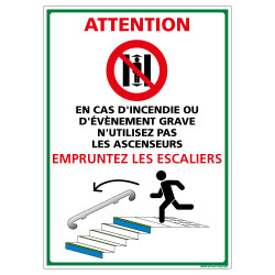PANNEAU EVACUATION PAR LES ESCALIERS (B0433)