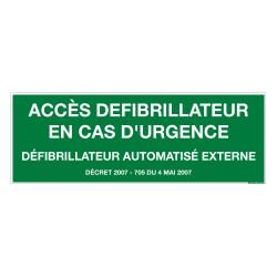 PANNEAU ACCES AU DEFIBRILLATEUR EN CAS D'URGENCE (B0447)