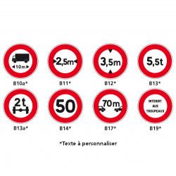Panneau Routier - Signaux d'interdiction - Type B