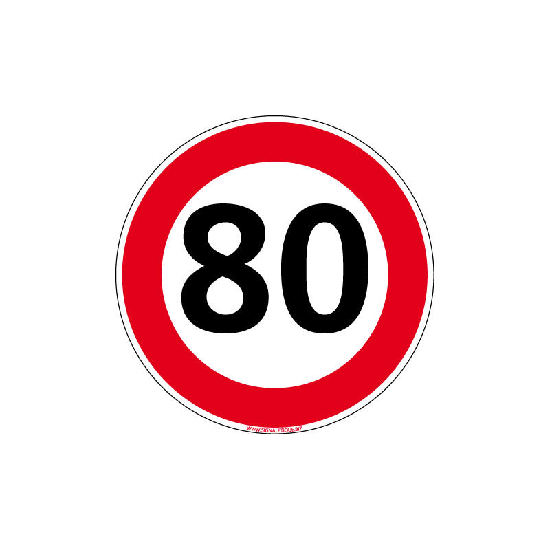 Panneau Limitation Vitesse 80 Km H