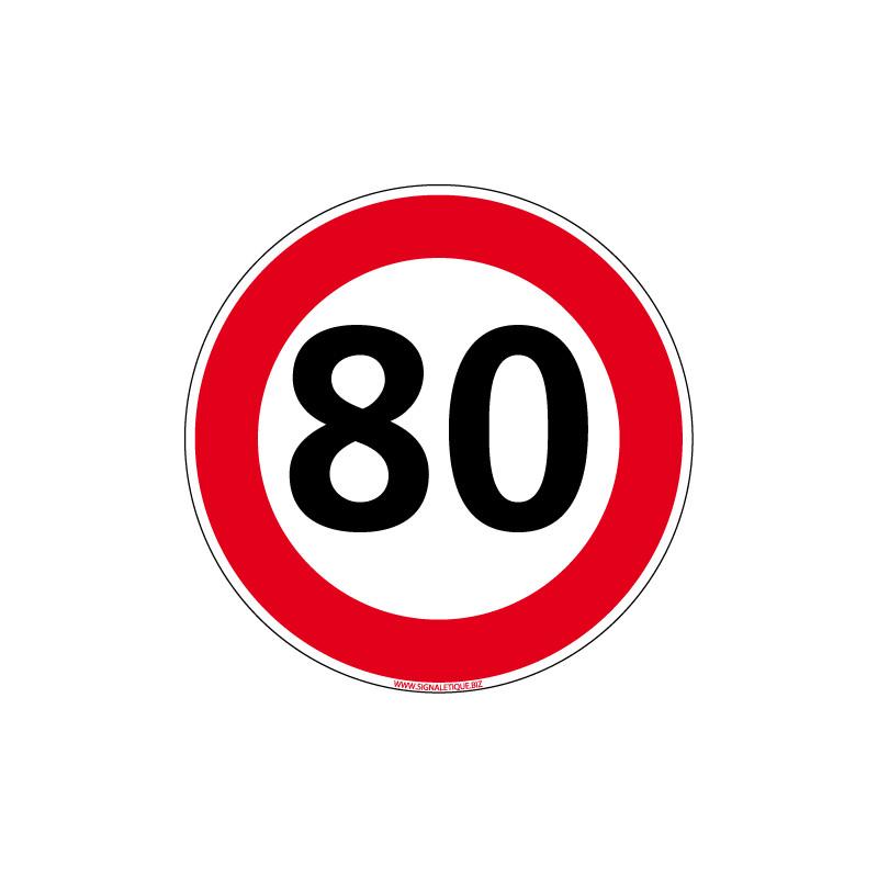 PANNEAU ROUTIER VITESSE LIMITEE A 80 km/h DESTOCK