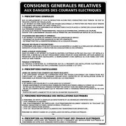 Panneau CONSIGNES GENERALES DES DANGERS DES COURANTS ELECTRIQUES (A0306)