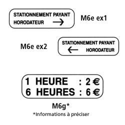 Panonceaux - Type M6e et M6g