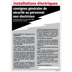Panneau CONSIGNES DES INSTALLATIONS ELECTRIQUES (A0325)