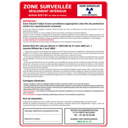 Panneau ZONE SURVEILLEE (A0327)