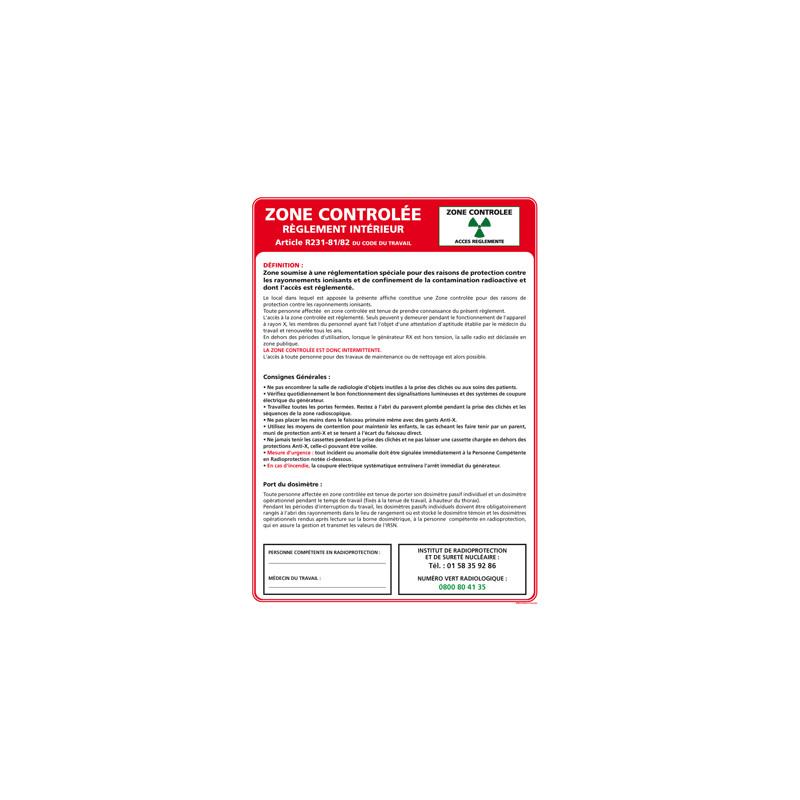 Panneau ZONE CONTROLEE (A0332)