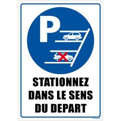Panneau de signalisation STATIONNEZ DANS LE SENS DU DEPART (L0575)